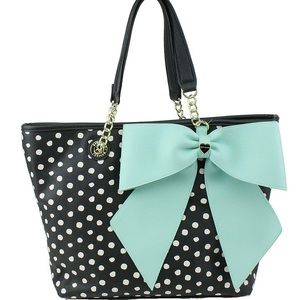 Betsey Johnson COLLECTOR ITEM Blue BOW-Regard Tote